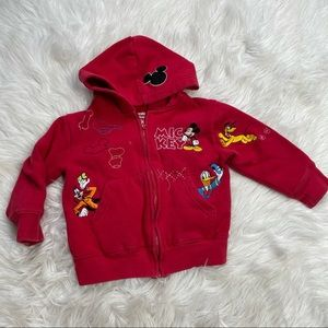 Disneyland | Red full zip patched Hoodie | Size 3T